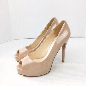 SZ 8 Blush Pink Guess Platform Peep Toe Heels